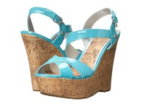 G By Guess Helix Light Turquoise Patent Pu Women's Wedge Shoes Blue