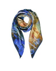 Vivienne Westwood And Andreas Print Twill Silk Square Scarf Royal Blue