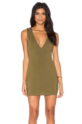 Oh My Love Plunge Stud Dress Army