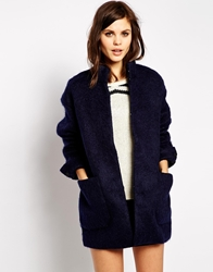 Y.A.S Coat In Fluffy Mohair Navy