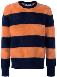 Msgm Striped Cable Knit Jumper Yellow And Orange