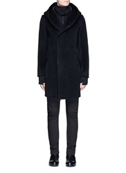 Attachment Hooded Wool Cashmere Coat Black