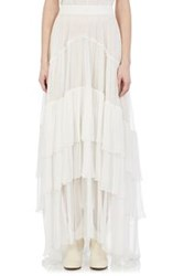 Chloe Women's Tiered Mousseline Maxi Skirt White