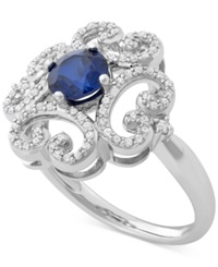 Macy's Sapphire 1 Ct. T.W. And Diamond 1 4 Ct. T.W. Flower Ring In 14K White Gold
