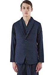 Abasi Rosborough Arc Striped Blazer Jacket Navy