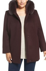 Sachi Plus Size Women's Wool Blend Coat With Genuine Fox Fur Trim Burgundy