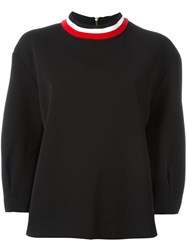 Marni Ribbed Stripe Collar Sweatshirt Black