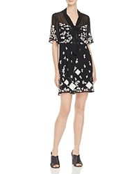 French Connection Midnight Garden Embroidered Dress Black Summer White