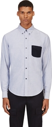 Band Of Outsiders Blue Oxford Corduroy Pocket Shirt