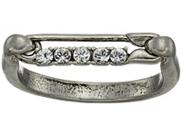 Marc Jacobs Safety Pin Strass Ring Crystal Antique Silver Ring