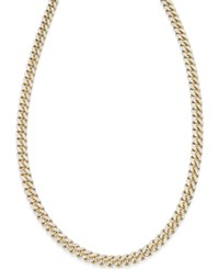 Macy's Cuban Chain Link Necklace In 18K Gold Over Sterling Silver