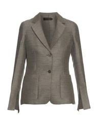 Calvin Klein Hamlin Single Breasted Wool And Silk Blend Blazer Grey
