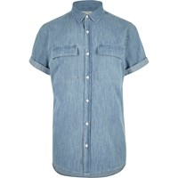 River Island Mens Mid Blue Wash Short Sleeve Denim Shirt