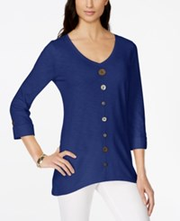 Jm Collection Button Trim V Neck Top Only At Macy's Bright Saphire