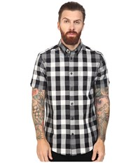 Ben Sherman Short Sleeve Oversized Mixed Gingham Woven Jet Black Men's Short Sleeve Button Up
