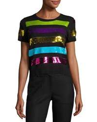 Marc Jacobs Sequin Striped Short Sleeve Sweater Black