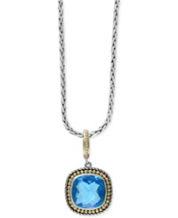 Effy Collection Ocean Bleu By Effy Blue Topaz 7 9 10 Ct. T.W. Pendant Necklace In Sterling Silver With 18K Gold Accents