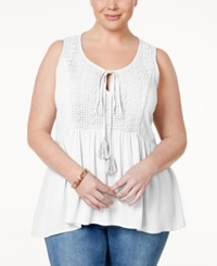Eyeshadow Plus Size Crochet Trim Peplum Peasant Top White