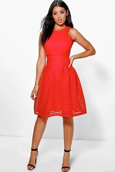 Boohoo Li Panelled Full Skirt Skater Dress Red