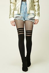 Forever 21 Striped Fishnet Paneled Tights Black