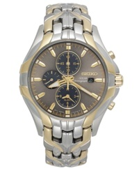 Seiko Watch Men's Chronograph Solar Two Tone Stainless Steel Bracelet 43Mm Ssc138