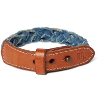 Rrl Distressed Leather And Braided Cotton Canvas Cuff Blue
