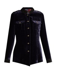 Etro High Neck Velvet Jacket Dark Purple