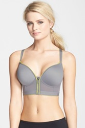 Dkny 'Energy' Zip Front Wireless Sports Bra Gray