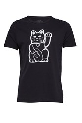 French Connection Fortune Cat Graphic T Shirt Black