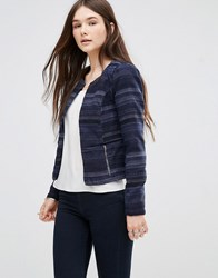 Only Cropped Jacquard Blazer Blue Navy