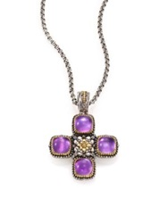 Konstantino Erato Amethyst 18K Yellow Gold And Sterling Silver Square Cross Pendant Silver Multi