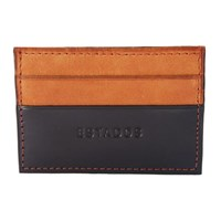 Estados Luxury Leather Card Holder Smooth Black And Tan