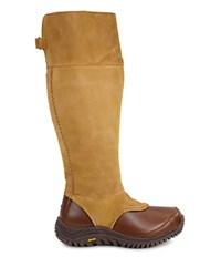 Ugg Miko Leather And Sheepskin Tall Boots Chestnut
