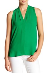 Vince Camuto Pleated V Neck Hi Lo Tank Petite Green