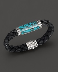 John Hardy Men's Sterling Silver Batu Classic Chain Station Bracelet With Turquoise Black Turquoise