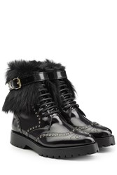 Burberry Shoes And Accessories Leather Ankle Boots With Shearling Black