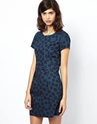 Bzr Trille Printed Dress In Poplin Midnight