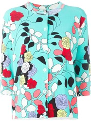 Antonio Marras Floral Print Cardigan Blue