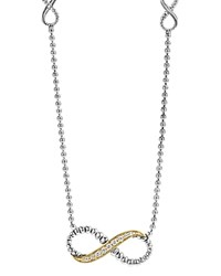 Lagos 18K Gold And Sterling Silver Beloved Infinity Necklace With Diamonds 16 Silver Gold
