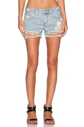 Unif Charlie Mid Rise Short Washed Blue