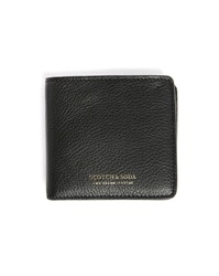 Scotch And Soda Black Leather Zipped Coin Wallet