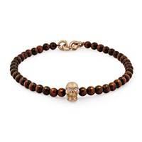 Snake Bones Skull Bracelet In 18K Gold With Diamond Eyes Red Tiger Eye And Clasp