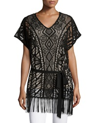 5Twelve Short Sleeve Belted Lace Top W Fringe Black Tan