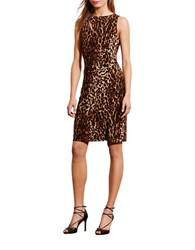Lauren Ralph Lauren Ocelot Print Sleeveless Jersey Dress Brown