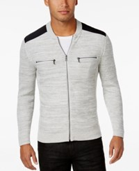 Inc International Concepts Men's Manchester Heathered Mixed Media Sweater Only At Macy's Light Grey Heather