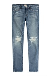 Mother The Looker Distressed Skinny Jeans Blue