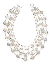 Five Strand Pearl And Crystal Necklace Margo Morrison