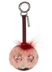 Fendi Mirror Fur And Leather Bag Charm Light Pink