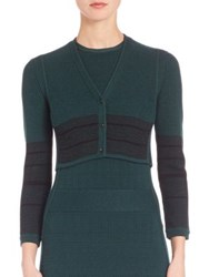 Narciso Rodriguez Linear Grid Cropped Wool And Silk Cardigan Emerald