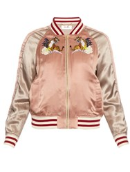 Muveil Embroidered Silk Bomber Jacket Pink Multi